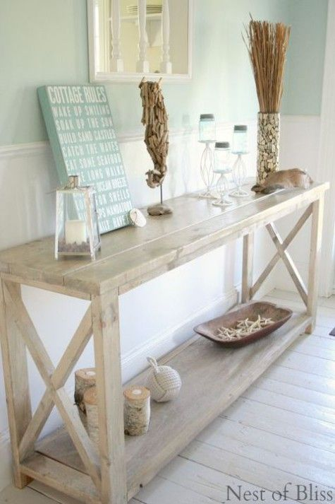 Beach And Coastal Style Entry Entrance With Light White Wooden Side Table Wainscoting Turquoise Walls Rustic Accessories