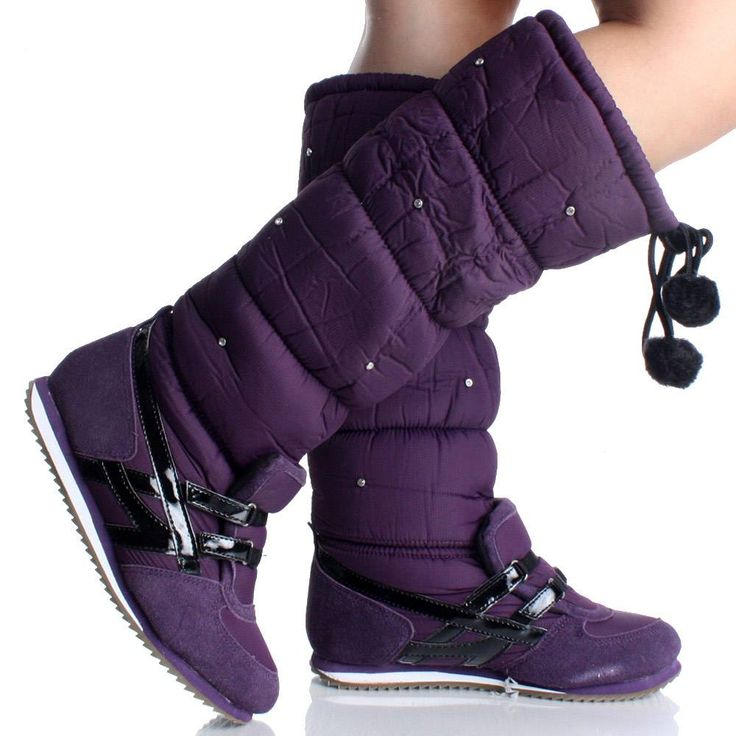 Womens Snow Boots Winter Knee High Purple Fur Flat Pom Pom