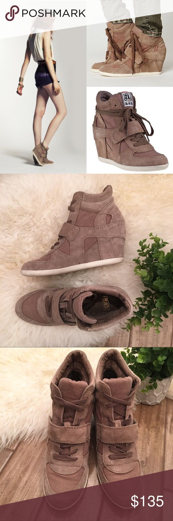 Ash Bowie wedge sneakers taupe brown suede 38 8 These adorable Bowie sneakers with a hidden wedge are taupe suede with canvas accents. Lace up with velcro closure and rubber sole. Size 38 from ASH with hardly and wear! These were $210. Ash Shoes Sneakers