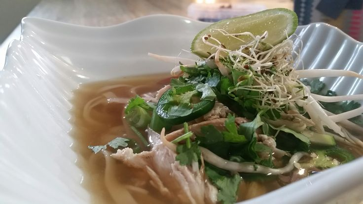 Chicken Pho Soup. Easy and such fresh flavours! Boil chicken breast bone in with no salt broth, add:lemon grass, whole chillies star anise,coriander seeds'quarter white onion, siracha, thumb of peeled ginger...simmer 1.5 hours. Remove chicken, strain stock...cook rice noodles separately. ..combine and top with. Lime, fresh coriander,  jalepeno, mini sprouts,full sprouts...and anything else you want! Don't add too many noodles! Many readers lose the broth because they do.