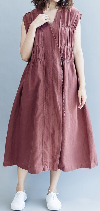 358f86392e vintage-khaki-cotton-linen-dresses-Loose-fitting-cotton-linen-clothing-dress -New-Sleeveless-wrinkled-v-neck-baggy-dresses