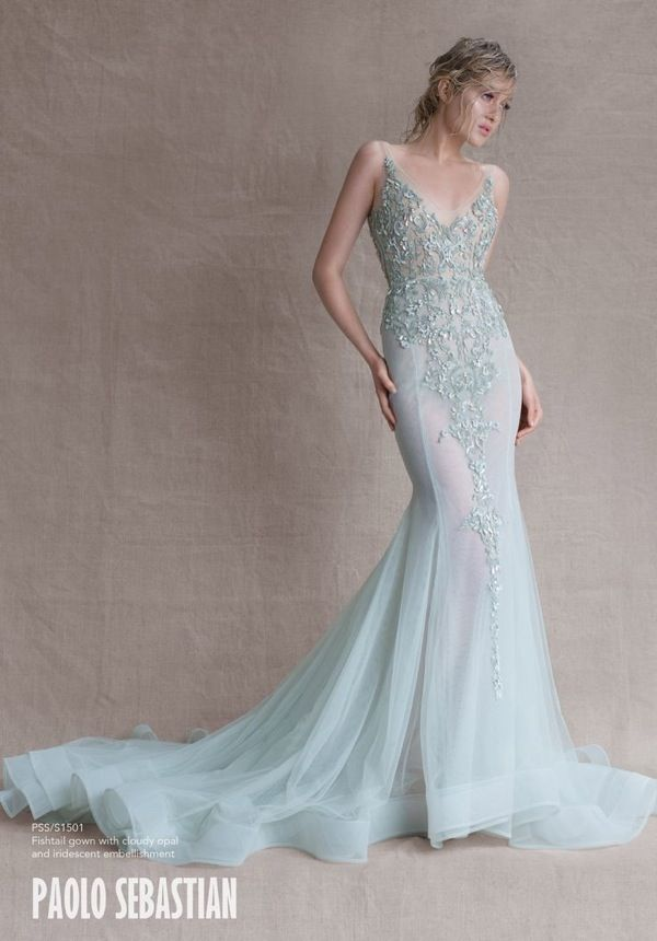 Mint Wedding Dresses from Paolo Sebastian SS Couture 2014-15