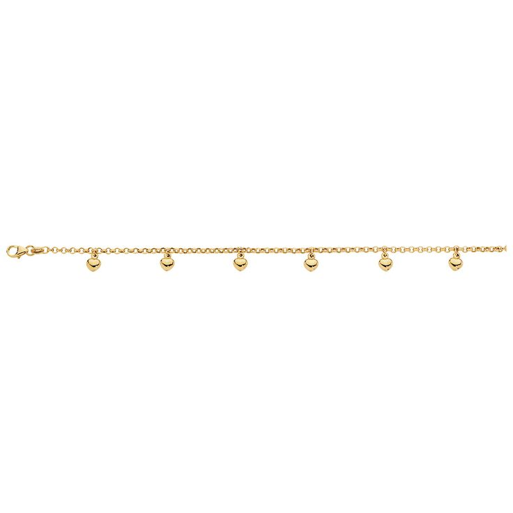 10ct Yellow Gold Heart Bracelet