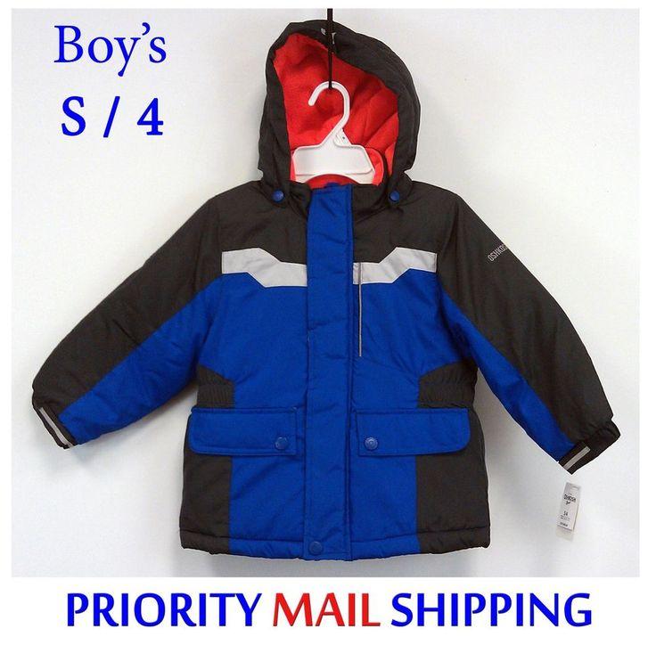 Oshkosh Bgosh Boys Winter Jacket S/4 Colorblock Blue/Black NWT Hood  $90R #OshKoshBgosh #Parka