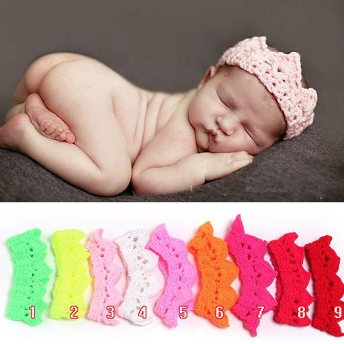 Корона стиль младенцы шляпа ручной работы вязка крючком реквизит для фотосъёмки новорожденные младенцы кепка повязка на голову только для новорожденных
