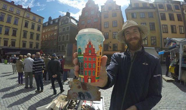 Artist Berk Armagan Travels The World & Reflect What He Sees on Coffee Cups. FunPalStudio Illustrations,Entertainment, beautiful, Art,Artist, Artwork, nature, World, drawings, paintings,  Creativity, beautiful, coffee cup, Eiffel Tower, Paris, Rome, World, travel.