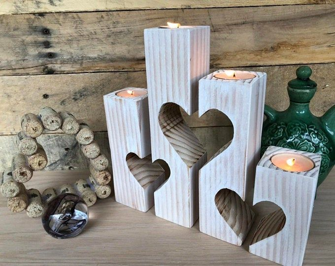 Candle holder heart valentines day gift candle holder rustic candle holder wedding gift personalized wedding decorations wooden candlestick   – sonstiges