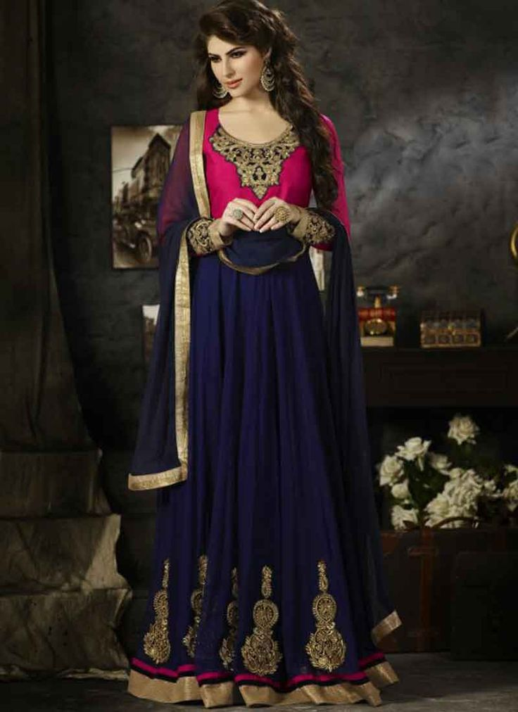 Navy Blue Magenta Embroidery Work Velvet Georgette Anarkali Suit.anarkali suits at low price in india