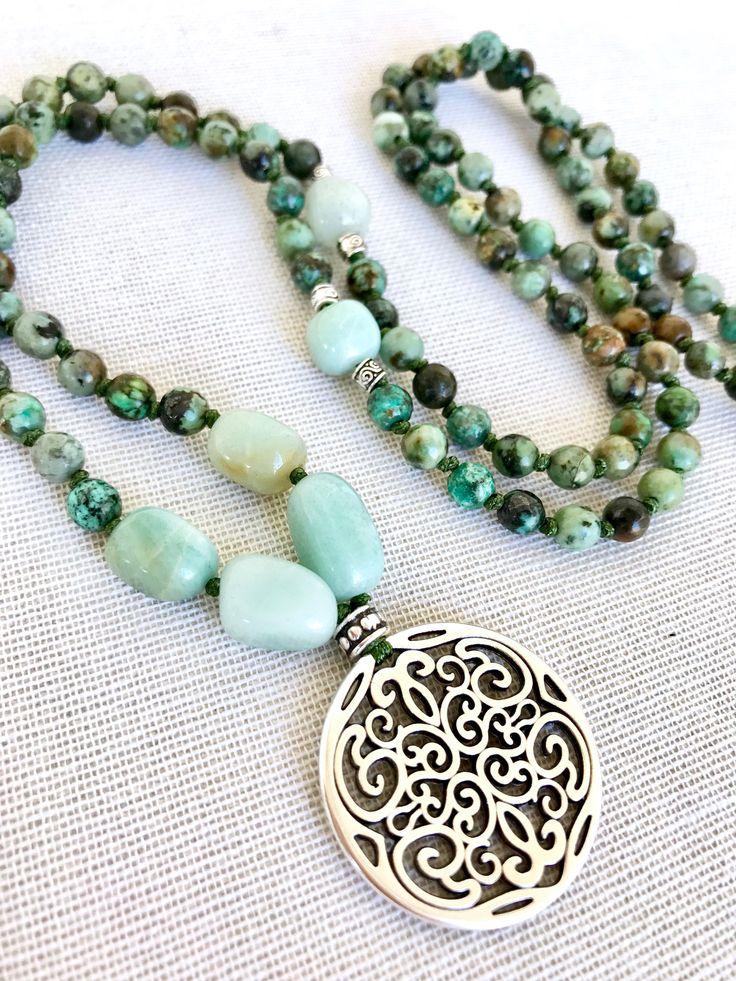 African turquoise mala necklace amazonite mala mandala pendant mala necklace yoga mala meditation necklace 108 prayer beads gemstones mala by Katiaicrafts on Etsy