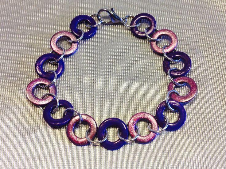 Braccialetto di rondelle verniciate viola e rosa : Braccialetti di queen-dody-dreams