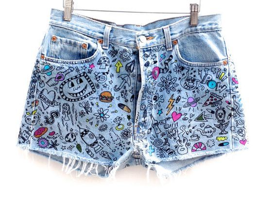 Hand Painted Graffiti Vintage Levis 501 Cut Off Jeans by HAMELWOOD:
