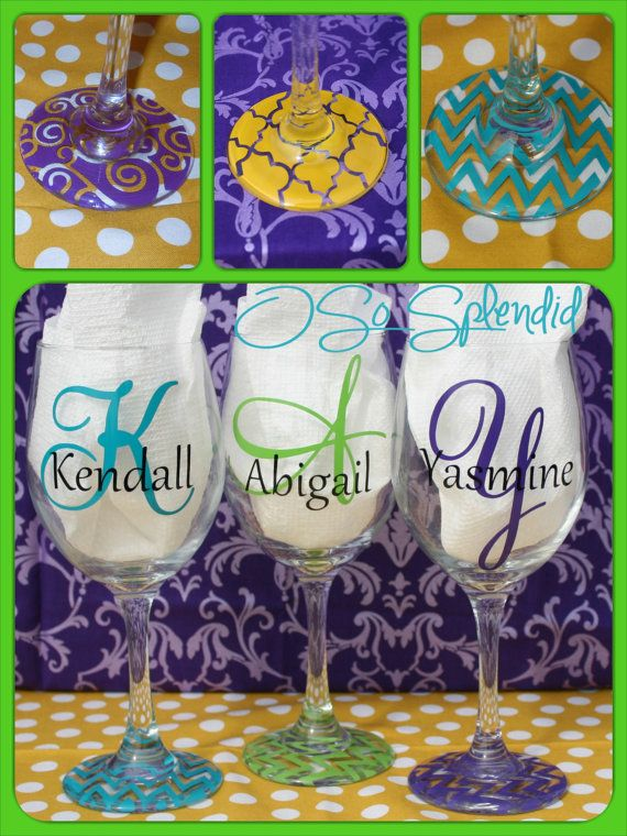 WITH VINYL YOU CAN DO COLORS. I USE AN OUTDOOR VINYL SO IT WITHSTANDS HAND WASHING. Personalized 20 oz Wine Glasses