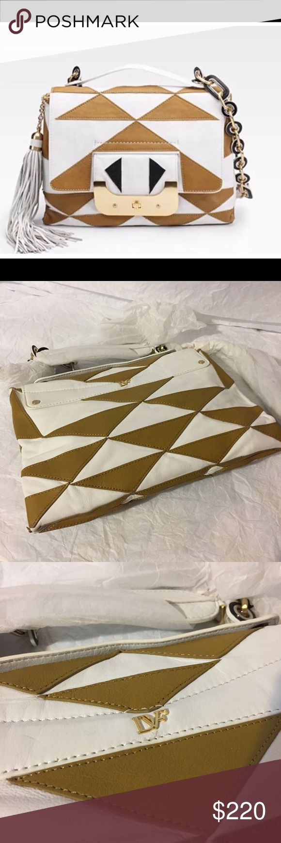 DIANE VON FURSTENBERG WHITE/CAMEL SHOULDER BAG NWT DIANE VON FURSTENBERG WHITE/CAMEL LEATHER SHOULDER BAG Diane Von Furstenberg Bags Shoulder Bags