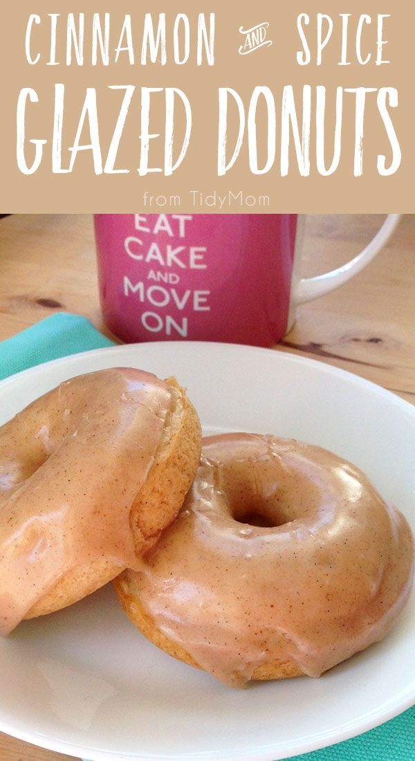 20 minutes is all you need for BAKED Cinnamon and Spice Vanilla Bean Glazed Donuts.  Click the image to get the easy recipe!