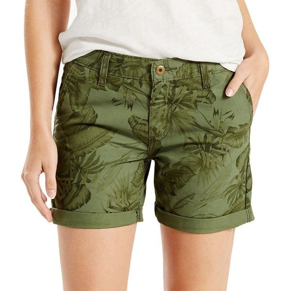 Women's Levi's® Classic Boyfriend Shorts ($20) ❤ liked on Polyvore featuring shorts, green, cuffed shorts, relaxed fit shorts, green shorts, boyfriend shorts and mid rise shorts
