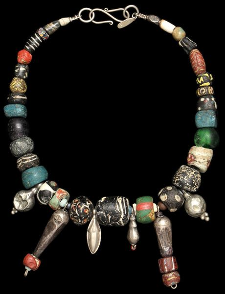 by Marion Hamilton | Necklace; all beads are either Greco-Roman or Islamic except turquoise Hebron 19th century and clear green glass, contemporary Krobo Ghana, silver is Yemen or Central Asia 19th century  || 3'000$