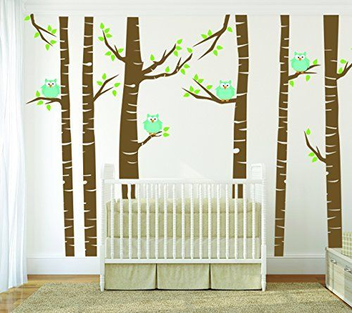 TURQUOISE Owls and Brown Birch Tree Forest Wall Decal, Birch Tree Wall Vinyl Sticker for Nursery, Birch Forest Kids Wall Art, Removable Vinyl Birch Tree Decal for Children Bedroom, http://www.amazon.com/dp/B00O6CPWFG/ref=cm_sw_r_pi_awdm_S7NEub1DQ59HG