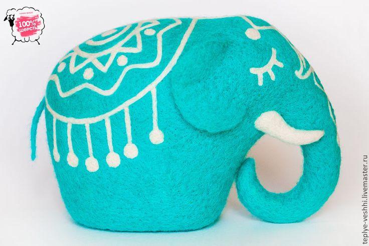 Купить интерьерная валяная игрушка Слон - бирюзовый, слон, слоник, Валяние, валяная игрушка