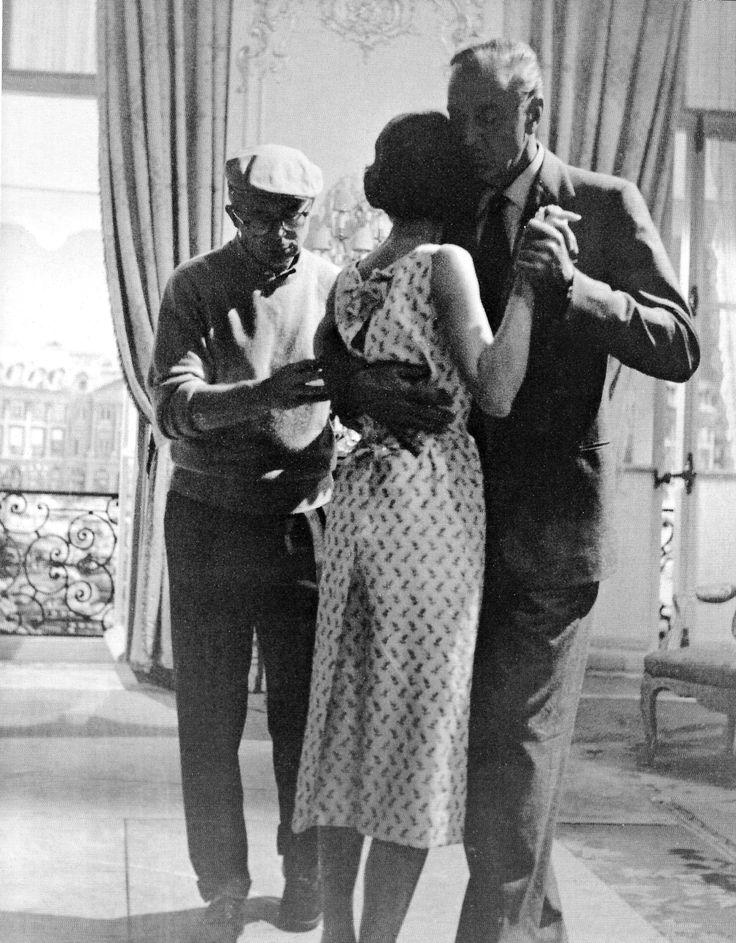 "Billy Wilder, Gary Cooper, Audrey Hepburn on the set of ""Love in the Afternoon"" (1957). DIRECTOR: Billy Wilder."
