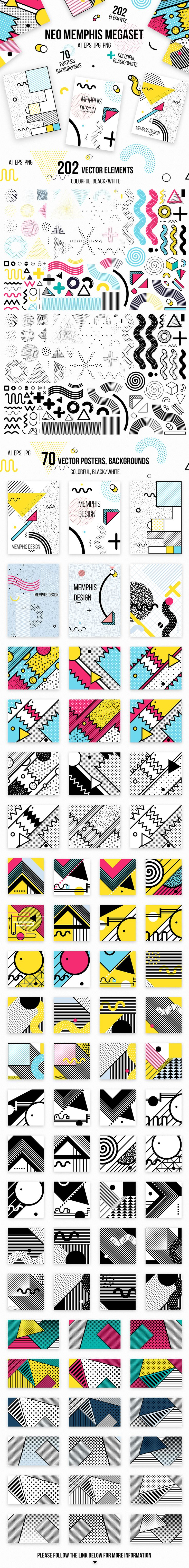 272 patterns, posters, elements. MEMPHIS MEGAset on Behance