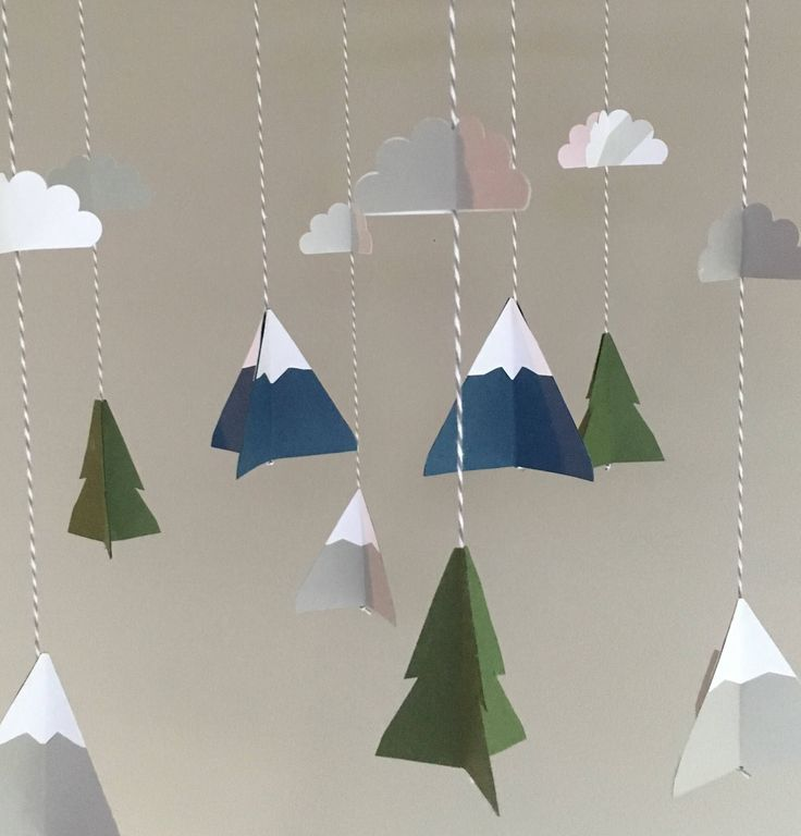 Mountain baby mobile, tree cloud baby mobile, camping nursery, baby boy nursery decor, navy, forest green, grey, rustic baby decor by UpUpandAwayDesignCo on Etsy https://www.etsy.com/listing/515755990/mountain-baby-mobile-tree-cloud-baby