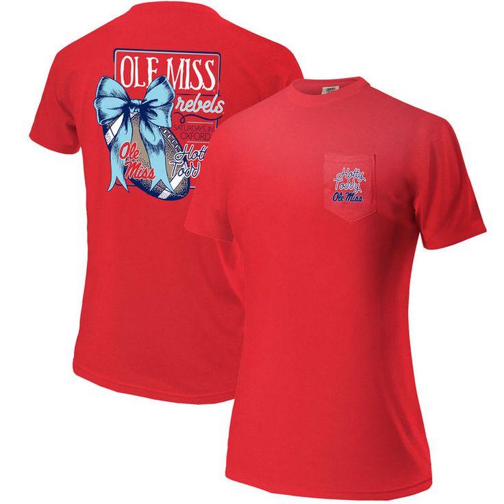 Ole Miss Rebels Women's Comfort Colors Football Saturdays Oversized Pocket T-Shirt - Red