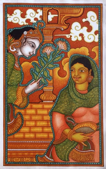 """""""Hail Mary, full of Grace. The Lord is with thee."""" Annunciation painting from Kerala, India."""