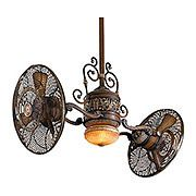 Minka Aire Minkaaire Belcaro Walnut Traditional Twin Turbofan Sweep Ceiling Fan Light And Wall Control Included Gyro For Aol Ping