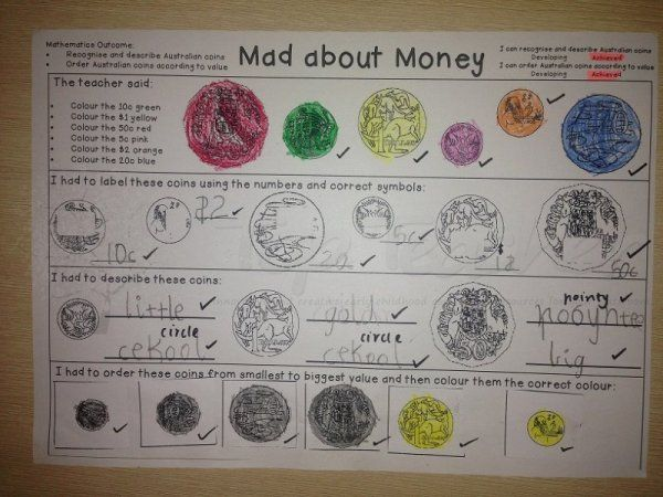 Use this template to assess knowledge of coins.  Students have to recognise coins label coins describe coins order coins