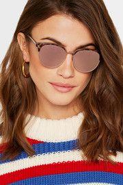 Déjà Vu cat-eye acetate and rose gold-tone mirrored sunglasses