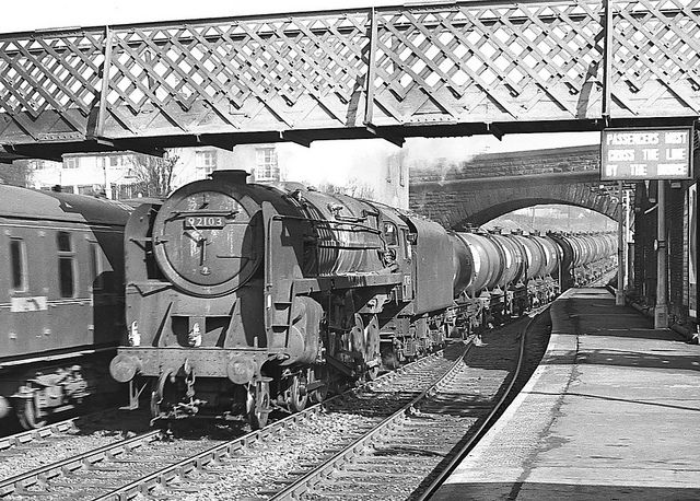 Class 9F no.92103. Bromsgrove station. 2 March 1963 by ricsrailpics, via Flickr