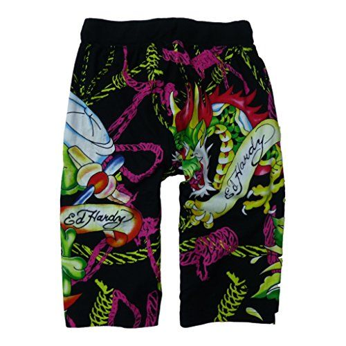 Ed Hardy Mens Soft Knit Graphic Sleep Lounge Pajama Shorts  Lounge and sleep in comfort! These Ed Hardy Men's Lounge Pajama Sleep Cotton Shorts are perfect for knocking around the house or as comfy sleep shorts. Elastic waistband with canvas drawstring for a customized fit Elastic waistband with canvas drawstring for a customized fit Hidden fly Elastic waistband with canvas drawstring for a customized fit Elastic waistband with canvas drawstring for a customized fit Hidden fly Two si..