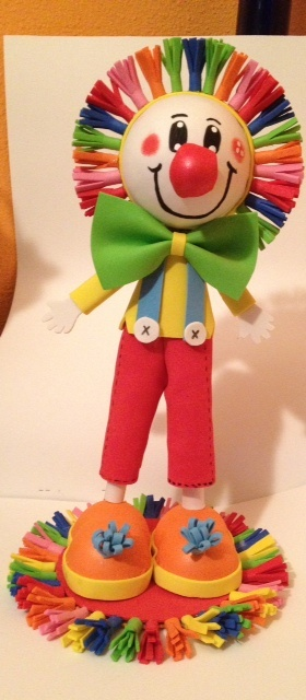 This Lovely Clown Fofucha Doll I made for a Circus theme party. Caketopper or centerpiece $22.00