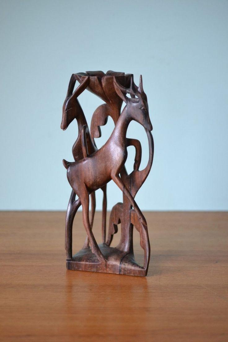Vintage teak / black wood deer figurines candle holder - Funky Flamingo