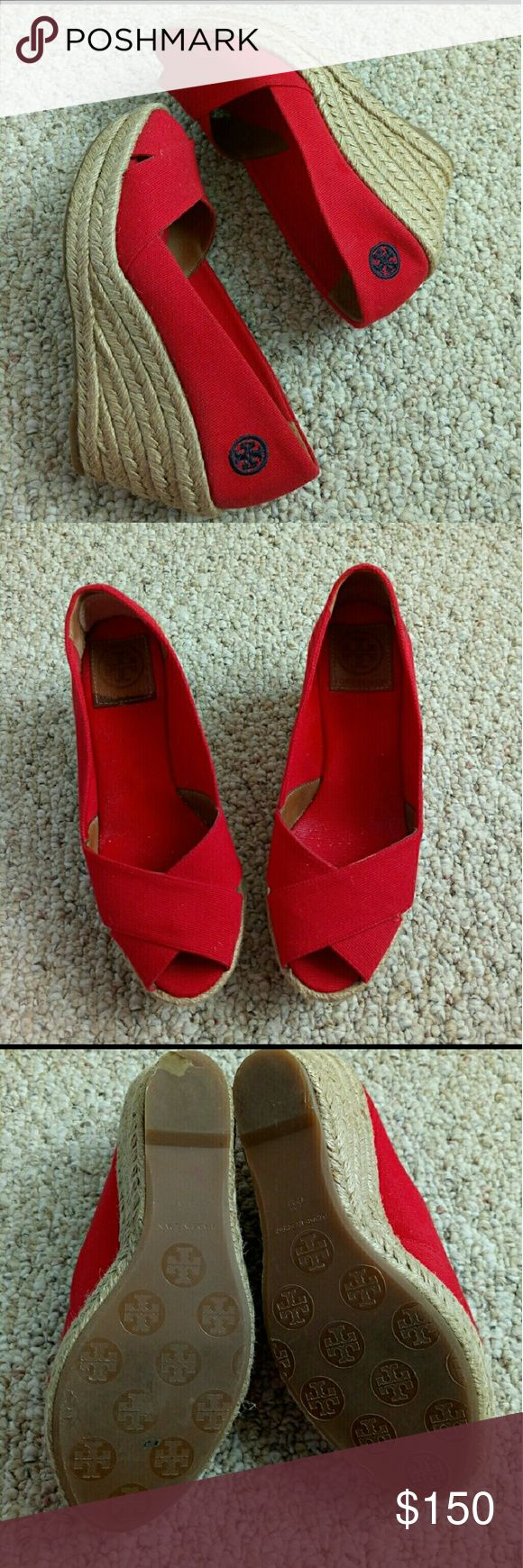 Red Troy Burch Wedge Red Tony Burch Wedge Shoes Size 6 Made in Spain 3 inches heels Only wore 2 times, show a little wore on the heels Tory Burch Shoes Wedges