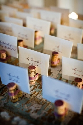 wine cork placecards! could be cute to use as a picture stand