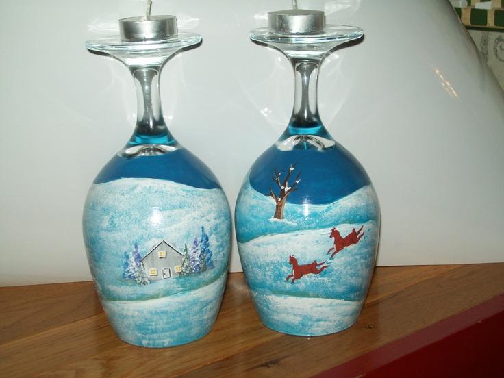 156 best skreytt v ngl s wine glass decor images on for Holiday wine glass crafts