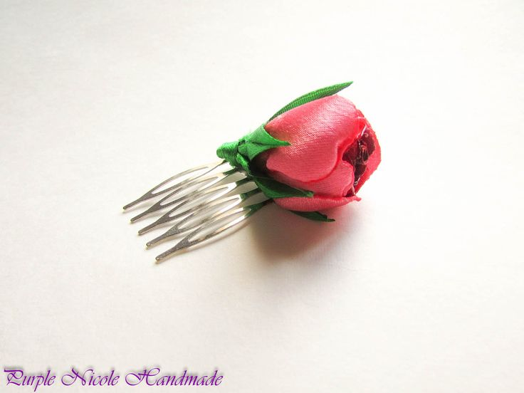 Red Heart Rose - Handmade Decorative Hair Comb by Purple Nicole (Nicole Cea Mov). Materials: green satin leaves and stem, pink-red satin rose, all handmade.