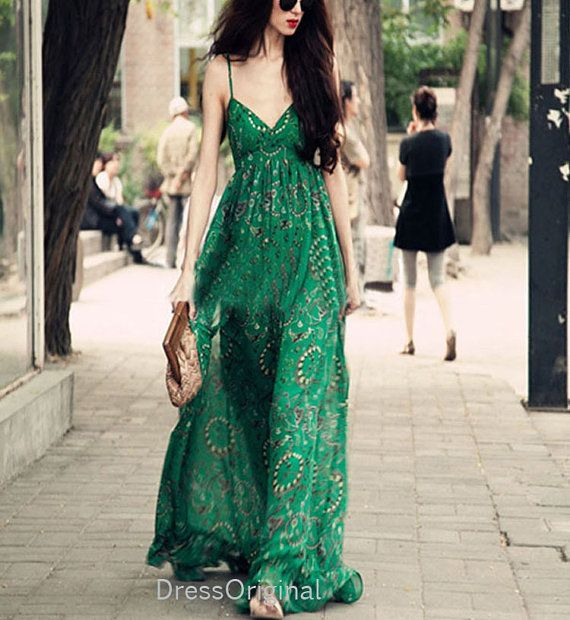 Summer dress maxi dresses Jade Green dress Strap by DressOriginal, $59.90