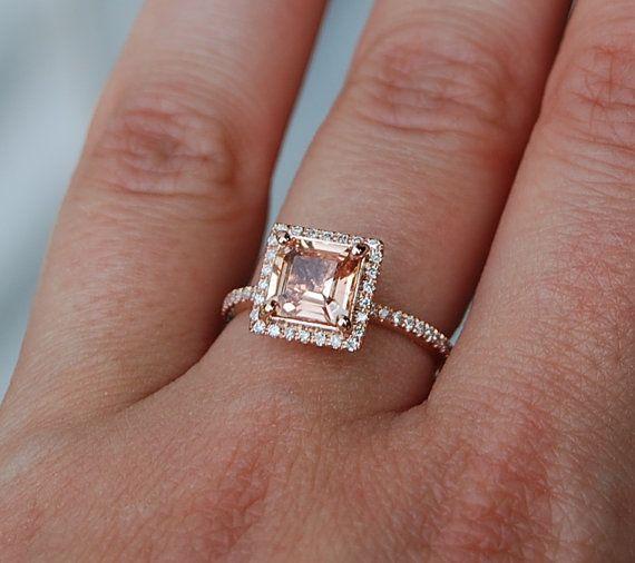 1.58ct Princess Peach sapphire diamond ring 14k rose gold diamond ring