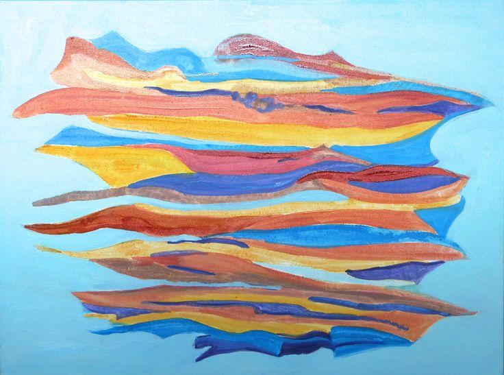 """Waves of Blue"", Oil glazes, 18"" x 24"", $200.00"