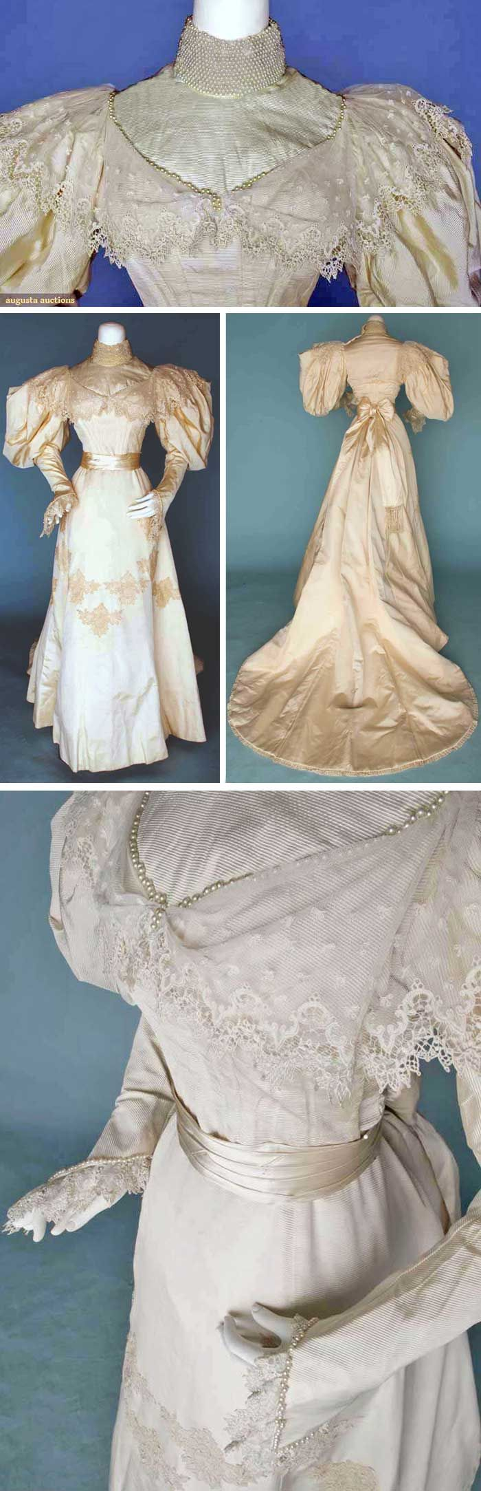 Wedding gown, circa 1895. Two-piece white ribbed silk. Pearl-studded high collar, leg-'o-mutton sleeves. Trained skirt and fringed sash. Via Augusta Auctions.