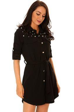 Avec Noir Magnifique Ceinture Très Mode Et Perle Fashion Chemise q1w54E
