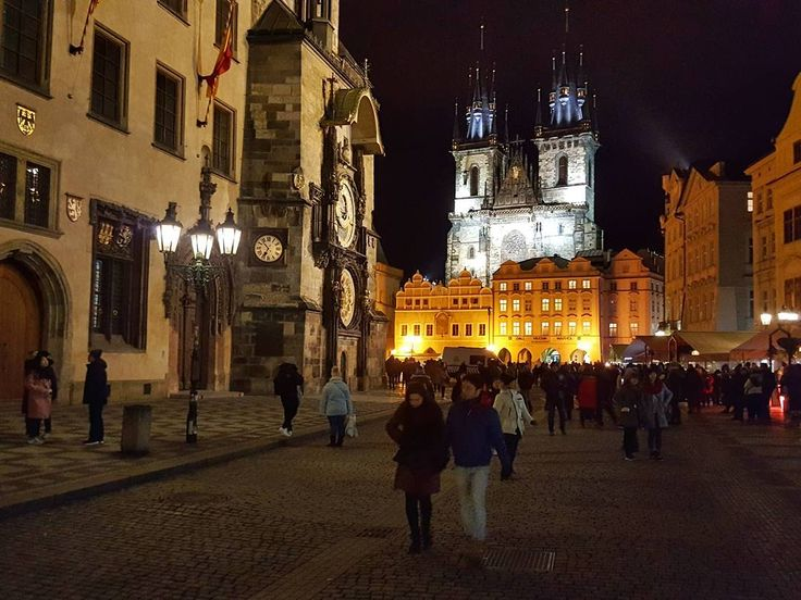 The Old Town Square with the Prague Astronomical Clock and the Church of Our Lady before Týn Prague  #prague #travel #oldtown #square #oldtownhall #astronomical #clock #church #tynskychram #oldarchitecture #architecture #night #city #NightInTheCity #street #streetphotography #galaxys6