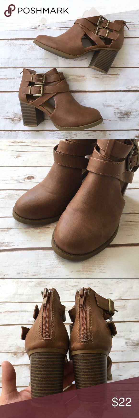 """Soda Camel Strappy Stacked Heeled Bootie Adorable preppy camel-colored vegan leather stacked strappy booties by Soda. • Worn once • 3"""" heel • Can fit 6.5 to a smaller 7  🚭 Smoke-free home 📬 Ships by next day 💲 Price negotiable  🔁 Open to trades Soda Shoes Ankle Boots & Booties"""