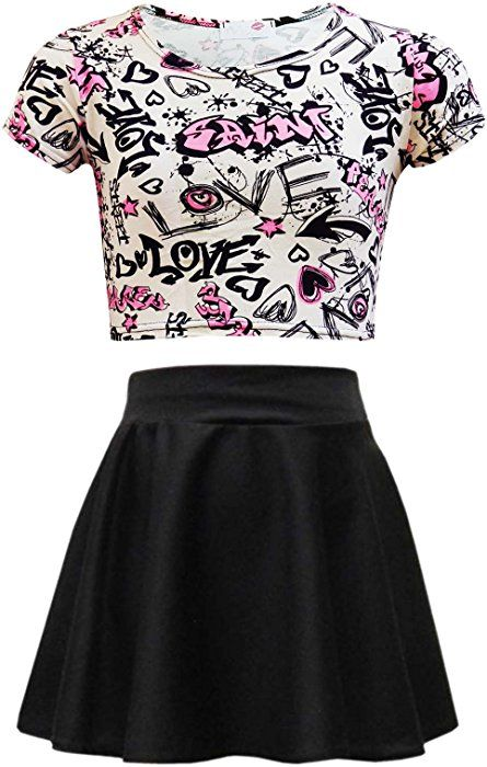 72982be7833ae7 Kids Girls Love Graffiti Scribble Print Crop Top   Black Skater Skirt Set  New Age 7 8 9 10 11 12 13 Years  Amazon.co.uk  Clothing