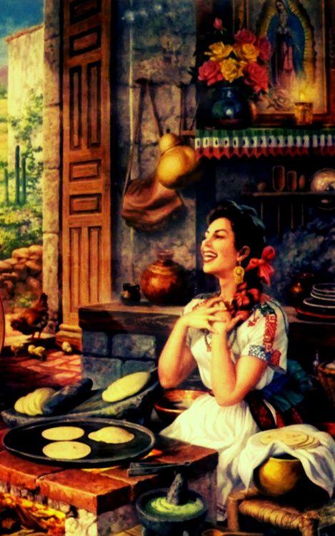 Jesús Helguera . La esposa de Helguera , Julia González Llanos , natural de Madrid, España , fue su modelo favorita y la inspiración para muchas de sus pinturas. A veces Julia fue pintado con traje rural mexicana tradicional con un rebozo y otras veces en un vestido folklórico vibrante.