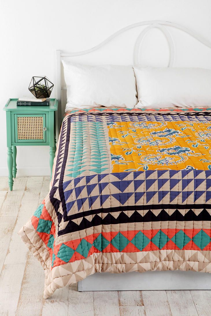 Magical Thinking Kantha Patchwork Quilt  #UrbanOutfitters  -Similar to mine but this one has floral print.