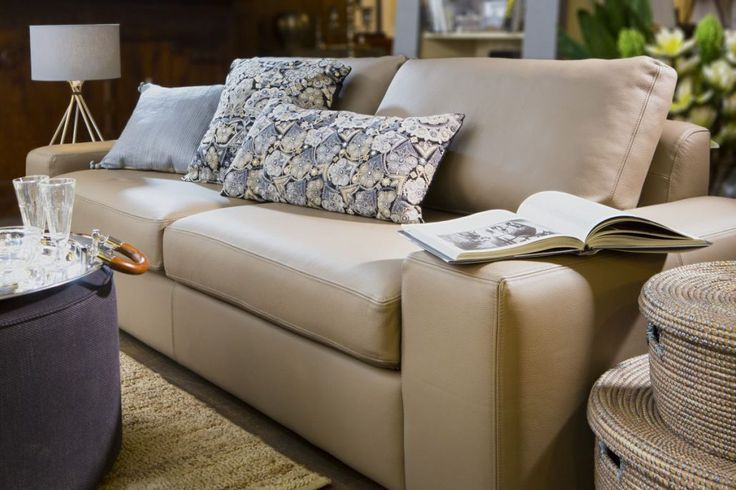 Home Spirit beige nude leather sofa in the style Chic from Le Patio.