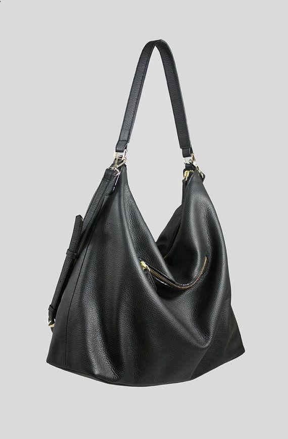NELA Leather Hobo Bag LARGE Black by MISHKAbags on Etsy